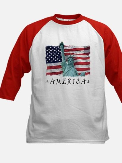 Liberty & Flag Kids Baseball T-shirt