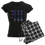 Fencing Sword Grid Women's Dark Pajamas