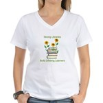 Sunflowers & Books 4 Libraries Women's V-Neck T-Sh