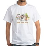 Aliki says Read. Know. Grow. White T-Shirt
