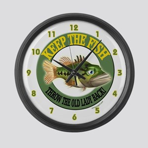 Funny Fishing Large Wall Clock