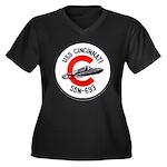 USS CINCINNA Women's Plus Size V-Neck Dark T-Shirt