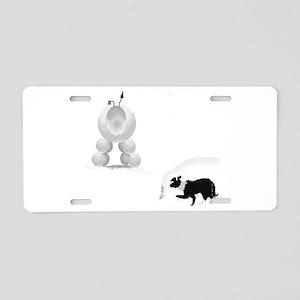 Snow Sheep Aluminum License Plate