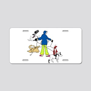 Walking Flyball Dogs Aluminum License Plate