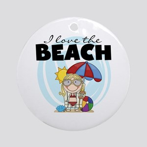 Blond Girl Love the Beach Ornament (Round)