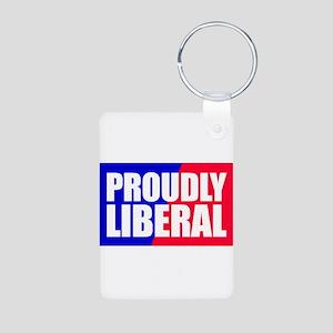 Proudly Liberal Aluminum Photo Keychain
