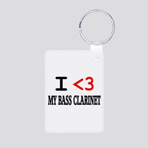 I Heart Bass Clarinet Aluminum Photo Keychain