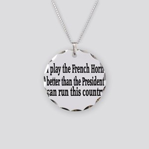 French Horn Necklace Circle Charm