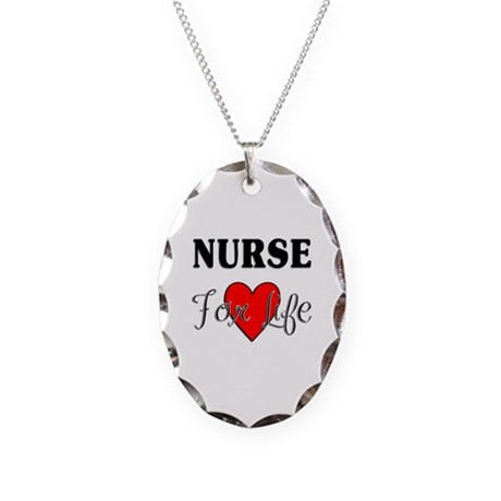 Nurse For Life Necklace Oval Charm