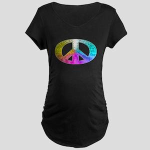 Peace Rainbow Splash Maternity Dark T-Shirt