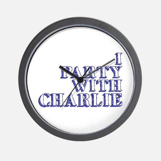 I Party With Charlie Wall Clock