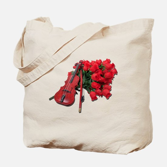 Violin on Bouquet Roses Tote Bag