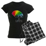 Rainbow Peace Love Women's Dark Pajamas
