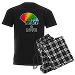 Rainbow Peace Love Men's Dark Pajamas