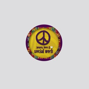 Peace, Love, & Social Work Mini Button