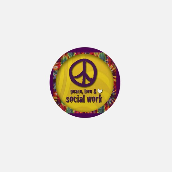Peace, Love, & Social Work Mini Button