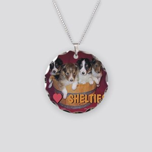 Sheltie puppies - Necklace Circle Charm