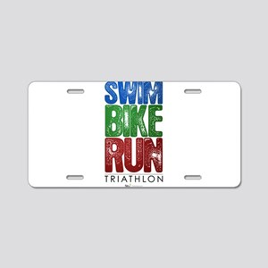 Swim, Bike, Run - Triathlon Aluminum License Plate