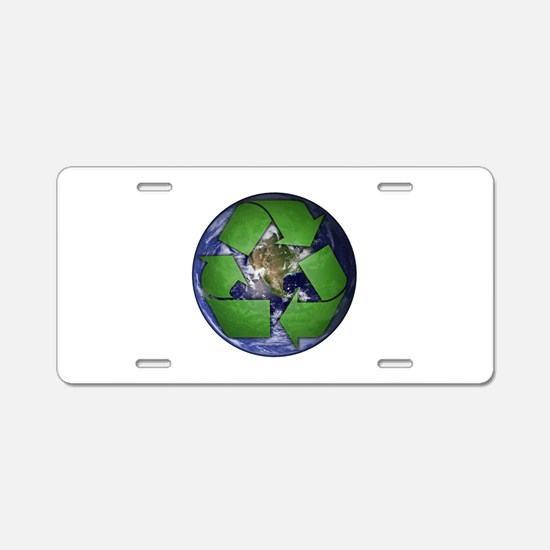 Green Recycle on Earth Aluminum License Plate