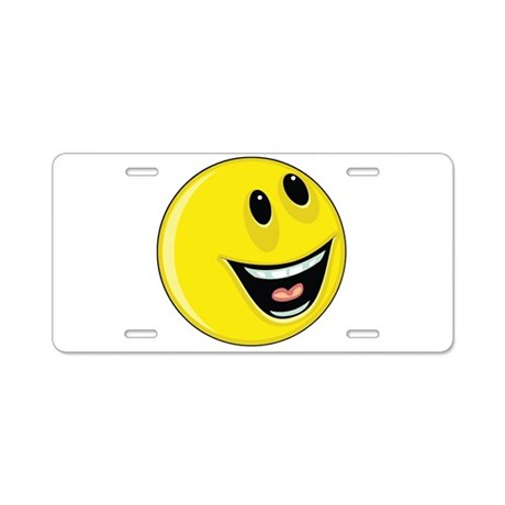 Smiley Face - Looking Up/Left Aluminum License Pla