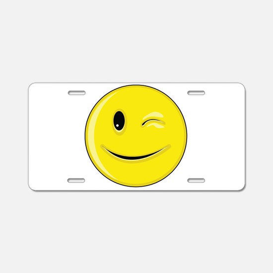 Smiley Face - Wink Aluminum License Plate