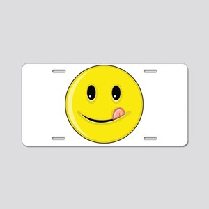 Smiley Face - Licking LIps Aluminum License Plate