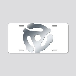 Silver 45 RPM Adapter Aluminum License Plate