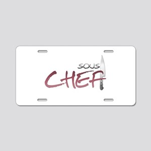 Red Sous Chef Aluminum License Plate