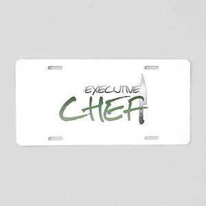 Green Executive Chef Aluminum License Plate