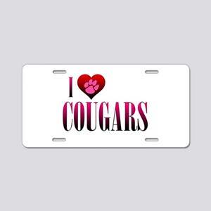 I Heart Cougars Aluminum License Plate