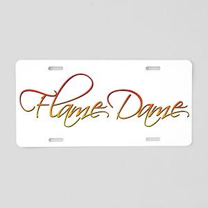Flame Dame Aluminum License Plate