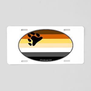 Oval Bear Pride Flag Aluminum License Plate