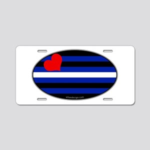 Oval Leather Pride Flag Aluminum License Plate