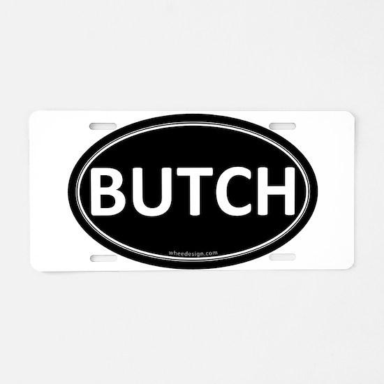 BUTCH Black Euro Oval Aluminum License Plate