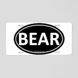 BEAR Black Euro Oval Aluminum License Plate