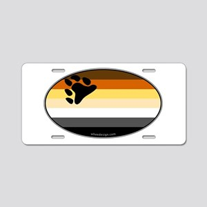 Oval Bear Pride Flag Aluminum License Plate