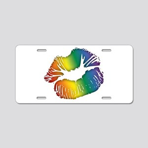 Big Rainbow Lips Aluminum License Plate