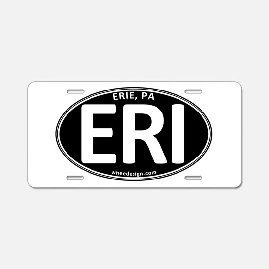 Black Oval ERI Aluminum License Plate