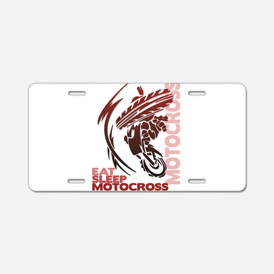 Eat Sleep Motocross Aluminum License Plate