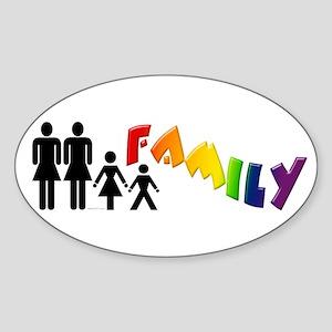 Lesbian Pride Family Oval Sticker