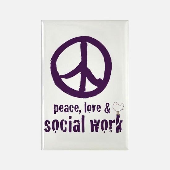 Peace, Love, & SW Rectangle Magnet