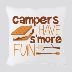 Campers Have S'more Fun Woven Throw Pillow