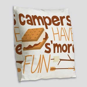 Campers Have S'more Fun Burlap Throw Pillow