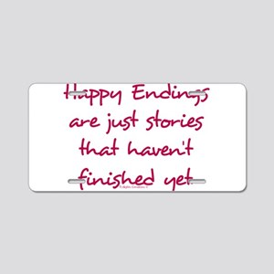 Happy Endings Finished Aluminum License Plate