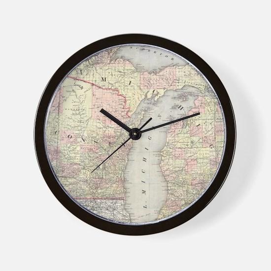 Vintage Map of Michigan & Wisconsin (18 Wall Clock