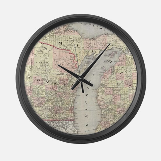 Vintage Map of Michigan & Wiscons Large Wall Clock
