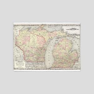 Vintage Map of Michigan & Wisconsin 5'x7'Area Rug