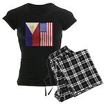 Philippine Flag & US Flag Women's Dark Pajamas