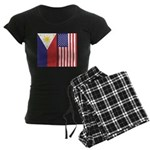Philippine Flag & US Flag Women's Dark Pajamas