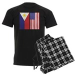 Philippine Flag & US Flag Men's Dark Pajamas